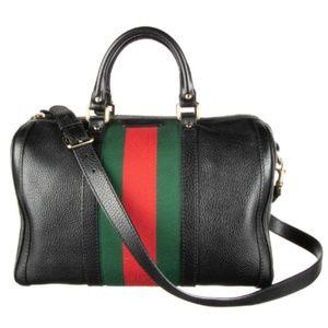 100% Auth Gucci Boston Vintage Leather Satchel Bag